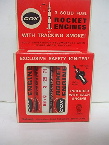 Vintage Cox #8260 - Pack of 3 - B6-0 Solid Fuel Rocket Engines with Tracking (Solid Fuel Rocket)
