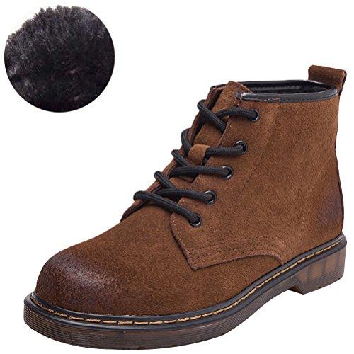 Stiefel Style1 Lederstiefel Braun MatchLife Winter Fleece Kurzschaft Damen Erwachsene Schnürhalbschuhe Boots wqXSXaU