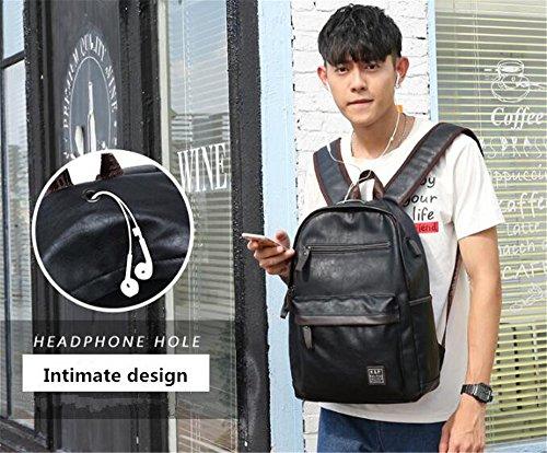 Zaino da scuola per gli zaini di ricarica USB per esterni Uomo Zaino per gli uomini Zaino in pelle artificiale Borse da viaggio di grande capacità maschile