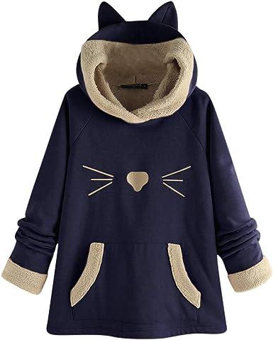 Womens Cat Ear Print Hooded Long Sleeves Knitting Sweatshirt Tops Blouse Shirt