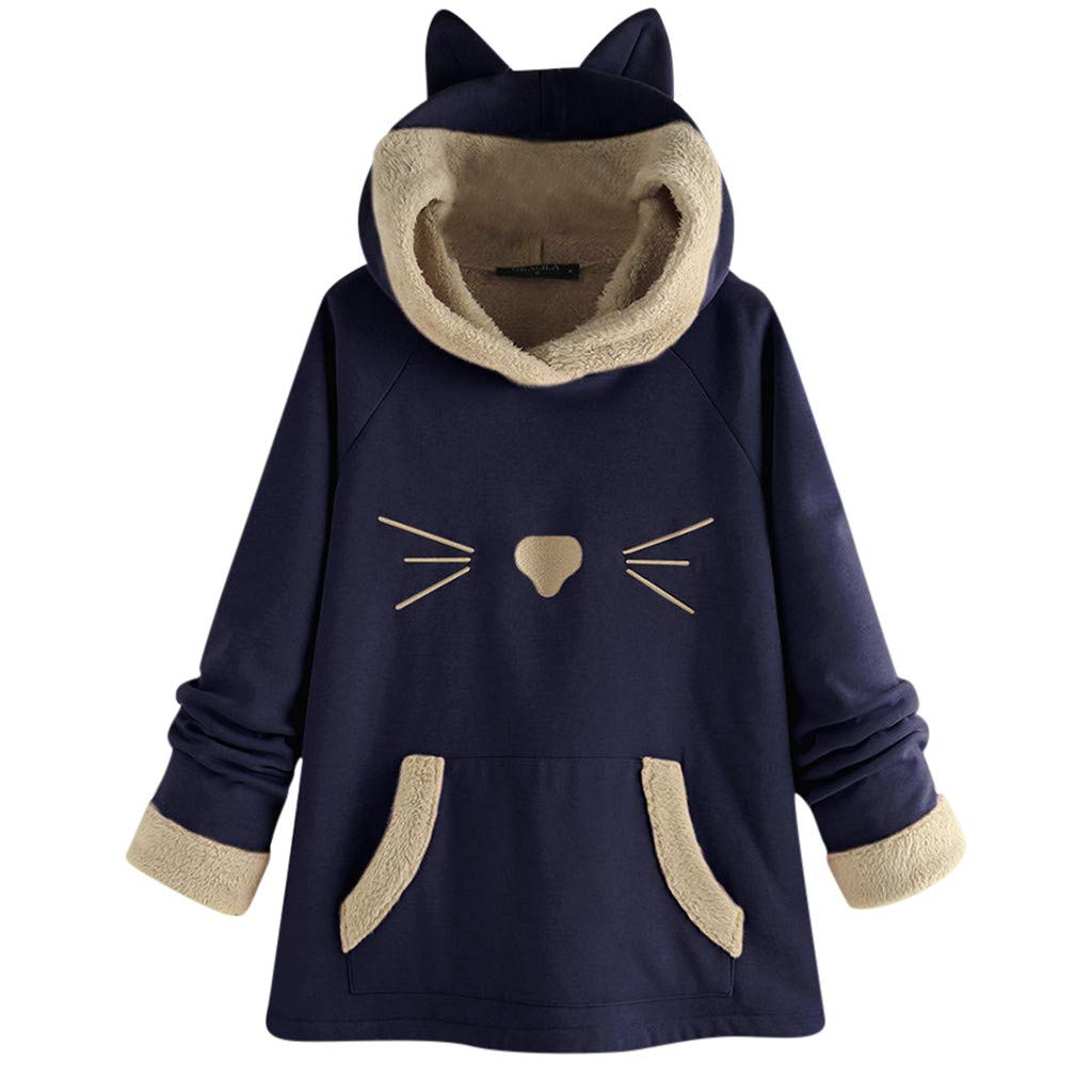 HET Dame Katze Ohren einfarbig Katze Print Pullover topLady Katze Ohren einfarbig Langarm Top mit Kapuze Mantel niedliche Jacke Blusen