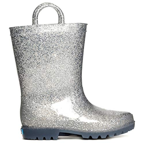 ZOOGS Kids Glitter Rain Boots for Girls, Boys, and Toddlers Silver