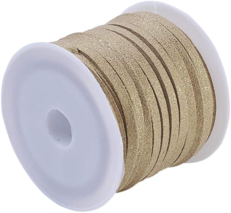 1 rollo de cuerda de ante sintético de arena, 5 m de largo, 3 mm de ancho, con purpurina para manualidades, joyería, punta plana, para pulseras, collares, perlas C22