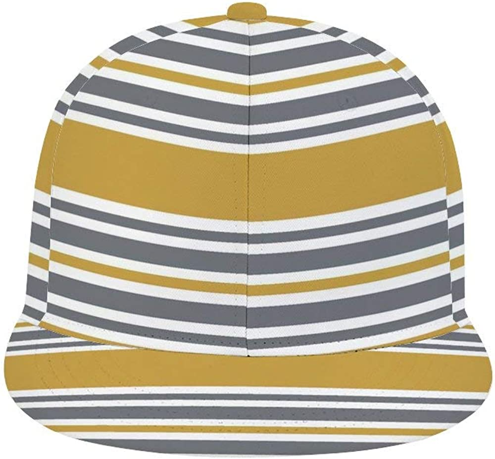 Dongi Mustard Yellow and Gray Striped Unisex Full-Print Flat Rubber Ball Cap can Adjust Hip-hop Style