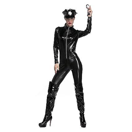 Disfraz De Mujer Policía PU De Cuero Wet Look BodySuit Uniforme ...