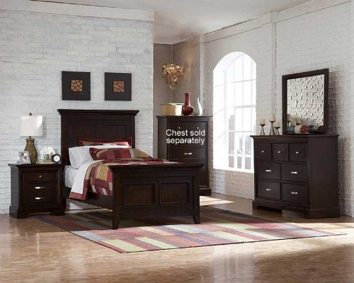 Homelegance Pottery (4pc Twin Size Bedroom Set Panel Headboard in Espresso)