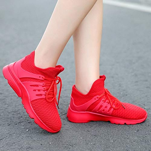 Lucdespo Mujer Style Net para Deportivas Deportivas Zapatillas Transpirables Zapatillas Cloth Zapatillas High Jogging gules Casual pqBtZpnwr
