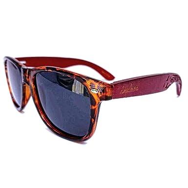 Amazon.com: Gafas de sol de bambú rojo con marco de tortuga ...