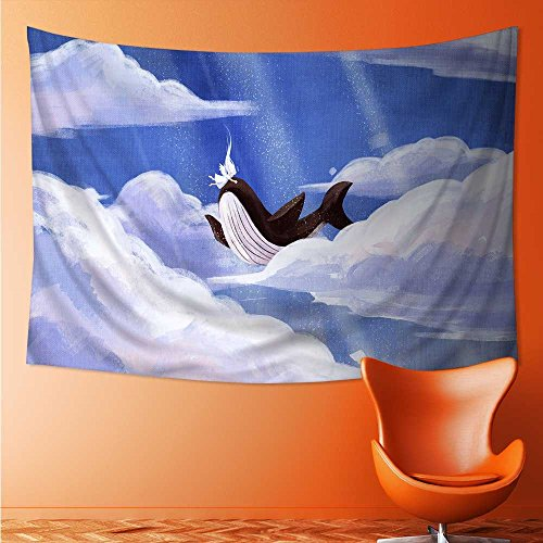 (L-QN Decorative Wall tapestry Angel and whale Decor Bedding 93W x 70L Inch )