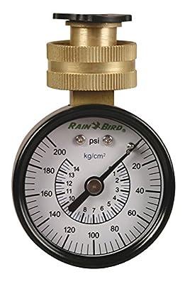 Rain Bird P2A Water Pressure Test Gauge, 3/4 Female Hose Thread, 0-200 PSI