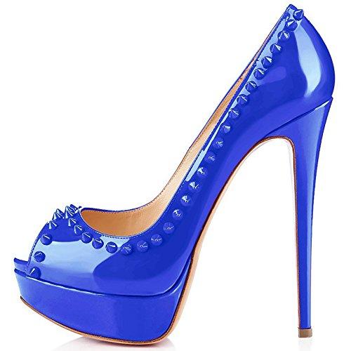Arc-en-Ciel bombas de zapatos de tacón alto del dedo del pie del pío del cuero de patente del remache de las mujeres Azul