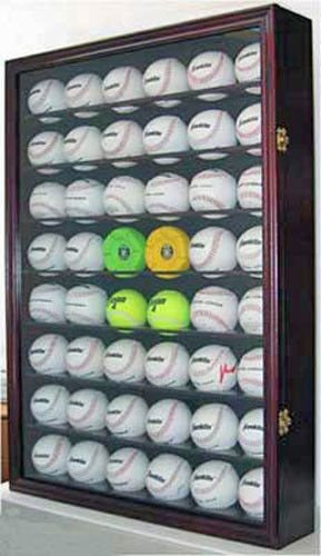 Mahogany Shadow Box Wall Cabinet To Hold 48 Baseball Display Uv Protection Door by Display Case