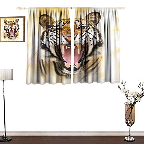 one1love Kids Room Curtains Tiger Young Panthera Tigris Altaica Growling in Angry Manner Portrait of a Young Large Cat Thermal Insulated Block Out Sunlight Shade W63 xL72
