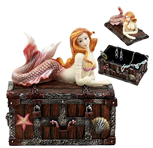 Ebros Pink Tailed Mermaid Nerida Resting On Sunken Treasure Chest Jewelry Box Figurine 525quot L Decorative Trinket Keepsake of Under The Sea Ocean Marine Life Sculpture Decor Vibrant Colors