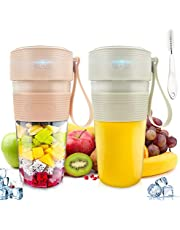 2pcs Portable Blender,Personal Size Blender Smoothies and Shakes USB Rechargeable Juicer Cup with 2 Powerful Blades,Handheld Mini Blender for Smoothie,Fruit Juice, Milk Shakes,4000mAh Battery Strong Power