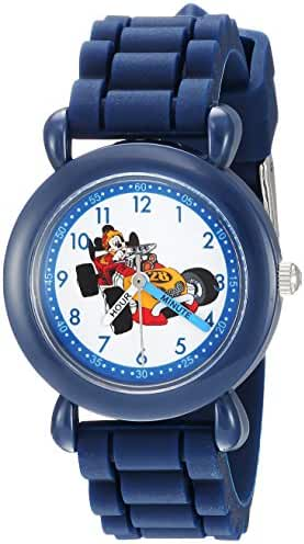 Disney Boy's 'Mickey Mouse' Quartz Plastic and Silicone Casual Watch, Color:Blue (Model: WDS000167)