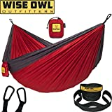 Wise Owl Outfitters Hammock for Camping Single & Double Hammocks Gear for The Outdoors Backpacking Survival or Travel - Portable Lightweight Parachute Nylon SO Red & Charcoal