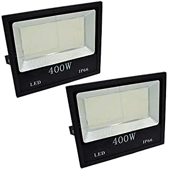 2-Pack 400 Watts Outdoor LED Flood Light Super Bright LED Floodlight AC120v Daylight White 6000K Backyard Flood Lamps Waterproof IP66,Equal to Halogen 2500W