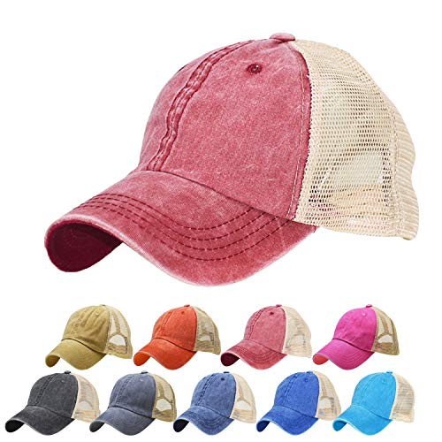 (GUOO Plain Two Tone Cotton Twill Mesh Adjustable Trucker Baseball Cap)