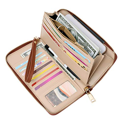 WOZEAH Women's RFID Blocking PU Leather Zip Around Wallet Clutch Large Travel Purse (brown)