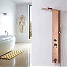 GOWE Rose-gold Stainless Steel Bathroom Shower Panel Rain Waterfall & Massage Jets & Hand Shower Tower Shower Column
