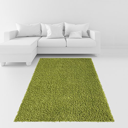 Soft Shag Area Rug 3x5 Plain Solid Color GREEN - Contemporary Area Rugs for Living Room Bedroom Kitchen Decorative Modern Shaggy Rugs
