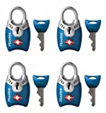 Master Lock Padlock, Keyed TSA-Accepted Luggage Lock, 1 in. Wide, Assorted Colors, 4689Q (Pack of 4)