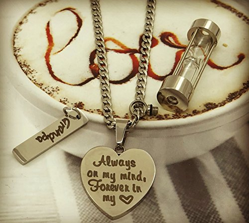 d286bbb1ccf03 Stainless Steel Hourglass Ashes Urn Memorial Keepsake Pendant  Necklace,Always on My Mind Forever in My Heart