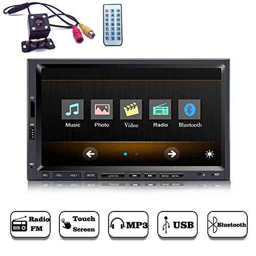 Yody Double Din Car Stereo with Bluetooth 7 Inch Touch Screen Car Audio 1080P Videos Car Media Player,MP3/MP5/FM Radio/USB/TF/SWC,Wireless Remote Control+Free Backup camera by Yody