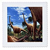 3dRose qs_1008_2 Dinosaur Brachiosaurus-Quilt Square, 6 by 6-Inch