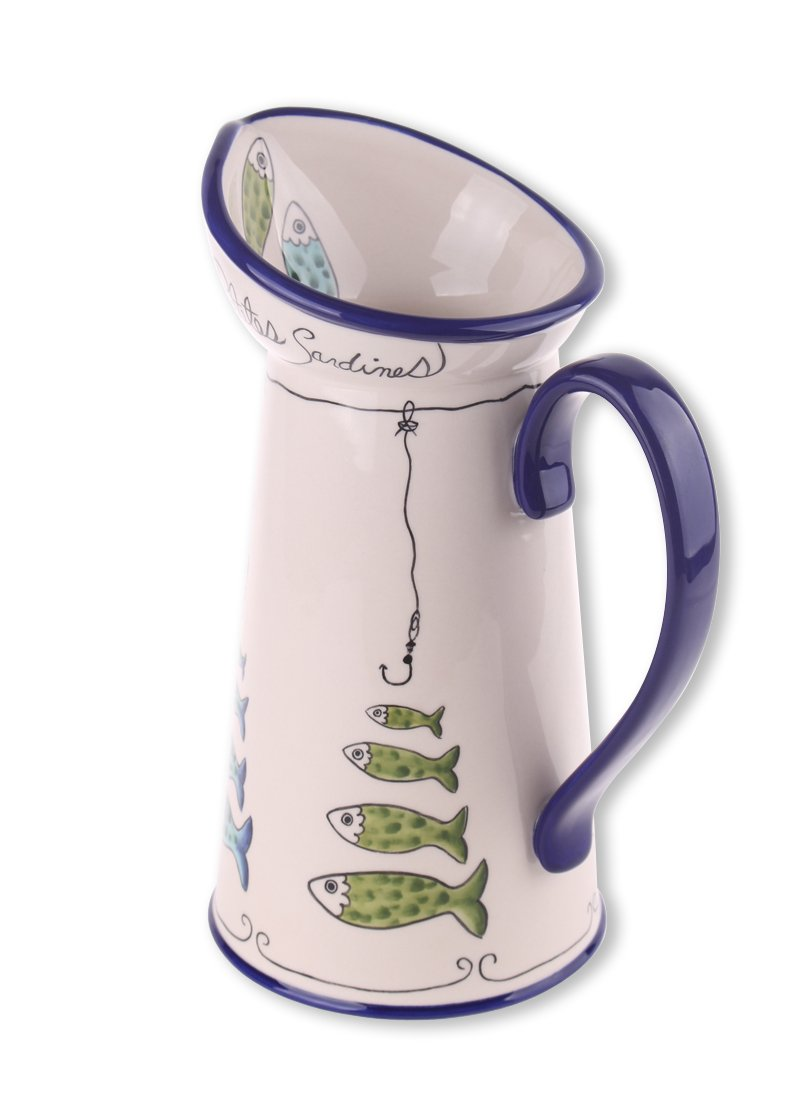 Blue Sky Ceramic Sardine Pitcher, 8 x 6 x 11 by Blue Sky Ceramic