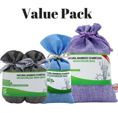 Value Pack. Bamboo Charcoal Deodorizer Bag Bundle with Power Pack & Mini Bags, Best Air Purifiers for Smokers & Allergies, Perfect Car Air Fresheners, Remove Smell for Home & Bathroom (3, - Power Air Hockey
