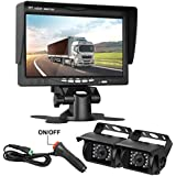 DohonesBest Dual Backup Cameras and 7LCD Monitor System Kit for Bus/Truck/Trailer/RV/Campers Night Vision IP68 Waterpoof With ON/OFF Switch Guide Lines Normal/Mirrored Pictures Optional
