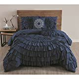 Navy Blue Solid Medallion Ruffled Pattern Comforter 5-Piece Set King Size, Beautiful Ruched Textured Design, Shabby Chic French Country Style, Vivid vibrant Color, For Unisex, Polyester Microfiber