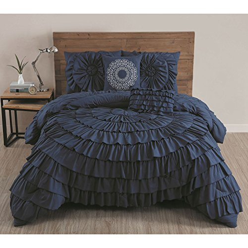 Navy Blue Solid Medallion Ruffled Pattern Comforter 5-Piece Set Queen Size, Beautiful Ruched Textured Design, Shabby Chic French Country Style, Vivid vibrant Color, For Unisex, Polyester Microfiber by Afultra