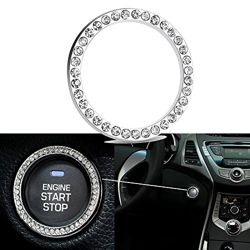 Car Engine Start Stop Engine Ignition Button Bling Diamond Rhinestone Emblem Ring Sticker Decoration, Universal Fit, Bling Car Accessories Interior Decoration, Gift For Women