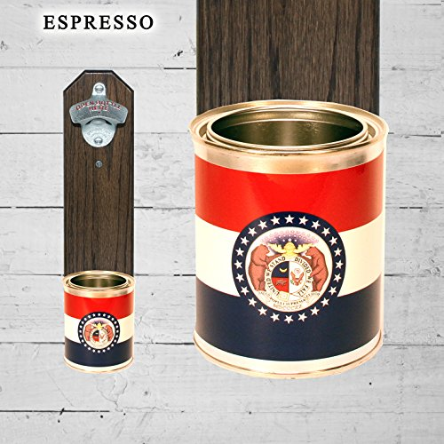 Wall Mounted Bottle Opener with Missouri State Flag Tin Can Cap Catcher (Missouri Bottle)