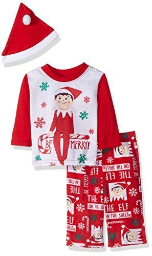 Elfo de la estantería bebé Familia Pijamas colección con Gorro de Papá Noel, Rojo (Mercury Red), 18 Meses