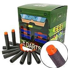 EKIND 200Pcs Darts Refill Foam Bullet for Nerf N-strike Elite Guns (Black)
