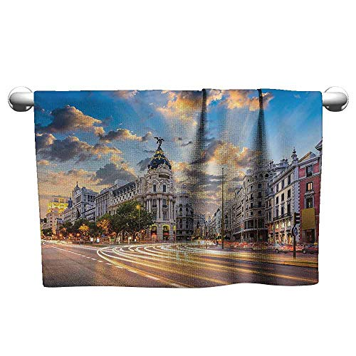 Mannwarehouse European Cityscape Decor Collection Quick Dry Towel View of The Streets Modern Madrid with Sky Landscape Big Old Town Heritage Deco W19 x L19 Multi