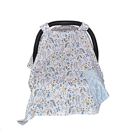 Carseat Canopy and Nursing Cover for breastfeeding Cool/ Warm Weather Infant Car Seat Cover Winter Baby Gifts for Newborn Floral for Boys Girls, Blue (Forest/ Blue)