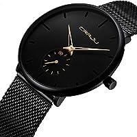 [Patrocinado] Reloj de pulsera para hombre, color azul profundo, ultra fino, para hombres, a la moda, impermeable, correa de acero inoxidable