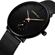 [Sponsored]Men's Watch Unisex Minimalist Watch Waterproof Watch Classic Gift Mesh with Gold Pointer