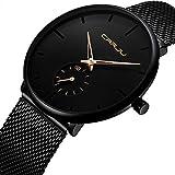 Men's Watch Unisex Minimalist Watch Waterproof Watch Classic Gift Mesh with Gold Pointer