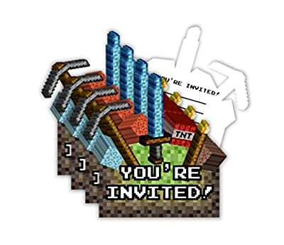 Mining Pixel World Birthday Party Invitations & Envelopes (20 Count)