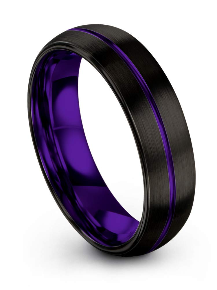 Chroma Color Collection Tungsten Wedding Band Ring 6mm for Men Women Purple Interior Purple Center Line Dome Black Grey Brushed Polished Size 12.5
