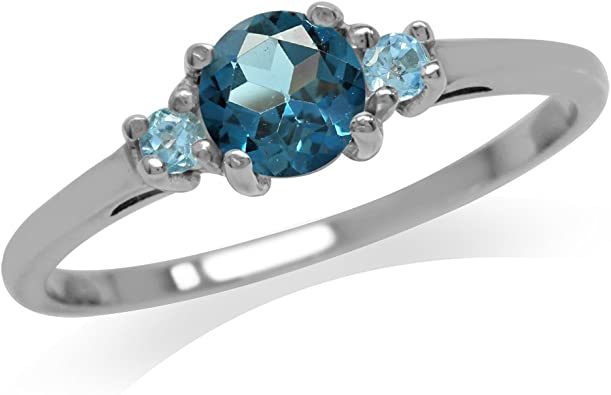 Silvershake Petite Genuine Blue Topaz White Gold Plated 925 Sterling Silver Promise Ring