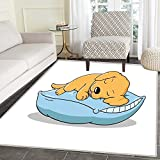 Golden Retriever Area Rug Cute Puppy Sleeping on a Pillow in Cartoon Style for Kids Indoor/Outdoor Area Rug 2'x3' Pale Orange and Baby Blue