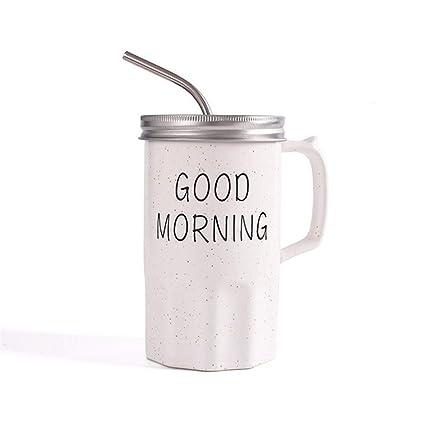 Qwerph 2018 Good Morning Cerámica Tazas De Paja Niños Desayuno Leche Avena Tazas Café Té Drinkware