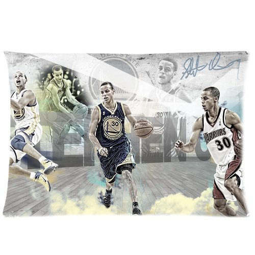 personalized Home Bedding Pillowcase NBA Golden State Warriors Famous Player Stephen Curry One Side Rectangle Pillowcases Standard Size 20x30-1